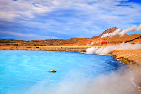 geothermal: Geothermal power station and hot water lagoon in Iceland Stock Photo