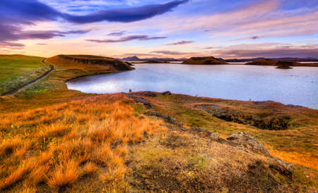 Sunset at Lake Myvatn in Northern Iceland
