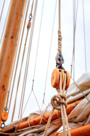 rigging: Mast of a large sailing boat and details of rigging