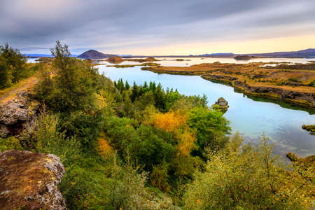 northern nature: Lake Myvatn in Northern Iceland Stock Photo