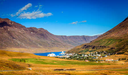 Town of Seydisfjordur in Eastern Iceland and the fjord