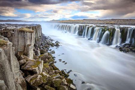waterfall with sky: Selfoss watrfall on Jokulsa a Fjollum river in Iceland