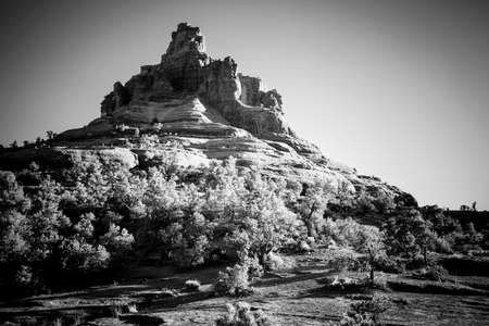 Beautiful view of Bell Rock Butte in Sedona, Arizona in black and white photo