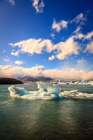 lagoon: Icebergs floating in Jokulsarlon Lagoon by the southern coast of Iceland