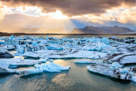 jokulsarlon: Icebergs floating in Jokulsarlon Lagoon by the southern coast of Iceland