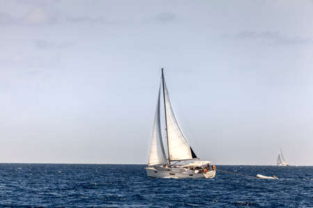 british: Sailboats on a bright sunny day in an open sea in British Virgin Islands