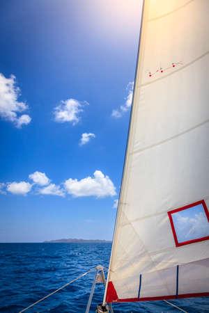 jib: Jib sail of a sailboat at sea in British Virgin Islands