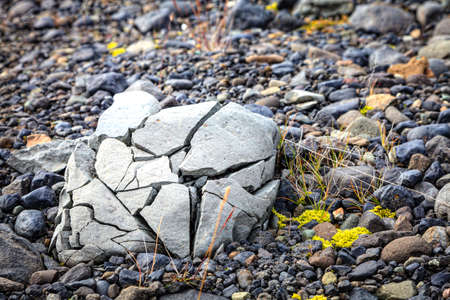 Rock crushed by the glacier in the south of Iceland