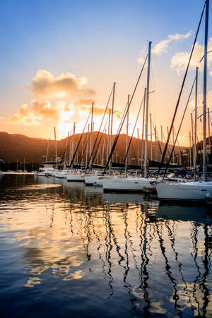 Sailboats at a marina on Tortola in British Virgin Islands Stock Photo