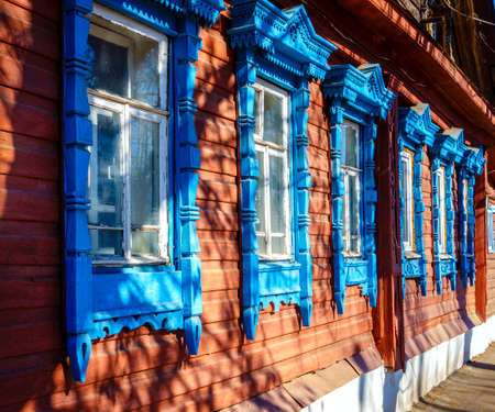 architrave: Fragment of Traditional old house facade in Kostroma, Russia