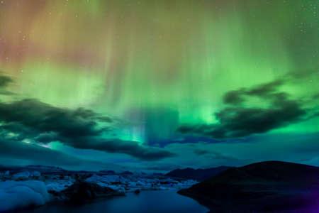 beautiful landscape: Aurora borealis over Jokulsarlon lagoon in Iceland Stock Photo
