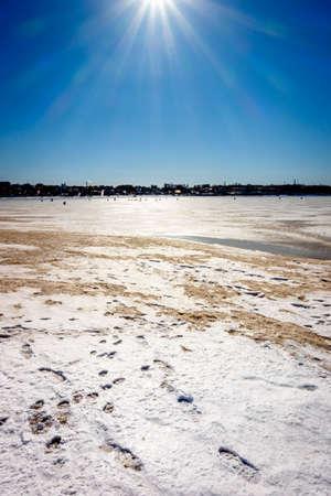 volga river: Fishermen on the frozen Volga River in Kostroma, Russia