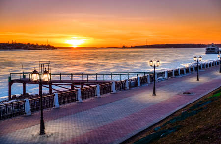 the volga river: Riverwalk along the Volga River in the city of Kostroma, Russia