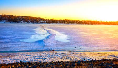 kostroma: Frozen Volga River at sunset in the city of Kostroma, Russia Stock Photo