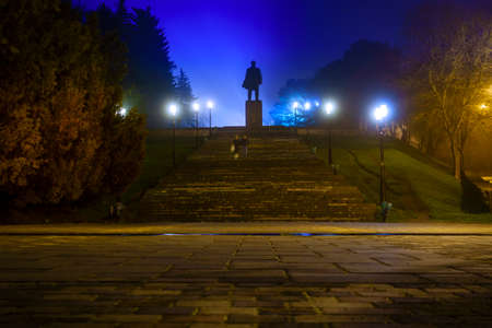pyatigorsk: Nighttime image of Lenin monument in Pyatigorsk, Russia