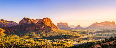 red rocks: Scenic view to Courthouse Butte, Bell Rock and surrounding red rocks formations in Sedona, Arizona at sunset