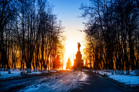 lenin: Lenin monument in Central Park in Kostroma, Russia at sunset Stock Photo