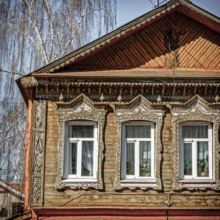 architrave: Traditional old house facade in Samara, Russia Stock Photo