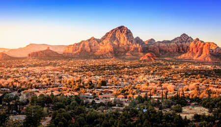 Birds eye view to the city of Sedona, Arizona and the Red Rocks at sunset