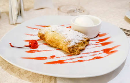 dessert plate: Dessert plate with cherry cobbler Stock Photo