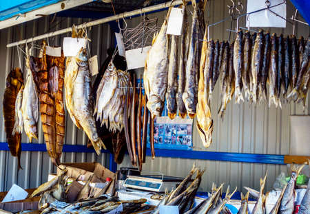 dried fish: Dried salted fish at a farmers market in Pyatigorsk, Russia