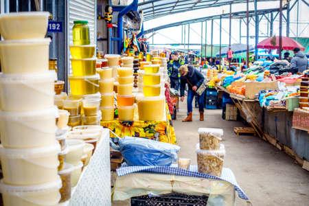 abundant: Pyatigorsk, Russia, April 3, 2015: Farmers market in the southern Russian city of Pyatigorsk is always abundant with regional produce Editorial