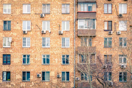 building wall: Windows in a residential building in downtown Moscow, Russia