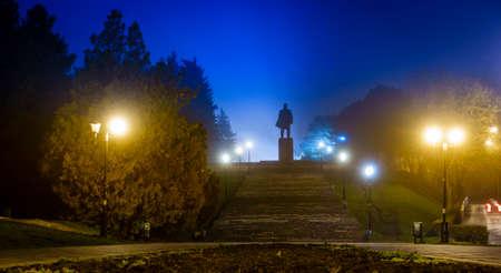 lenin: Nighttime image of Lenin monument in Pyatigorsk, Russia