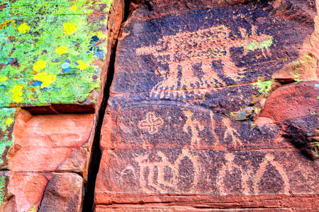cottonwood: Closeup image of Indian petroglyphs on a rock face near Cottonwood, Arizona Stock Photo