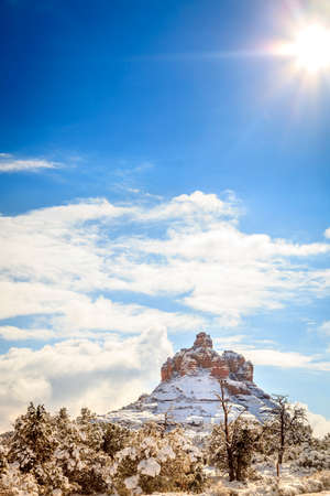 heavy snow: Bell Rock formation in Sedona, Arizona after heavy snow storm
