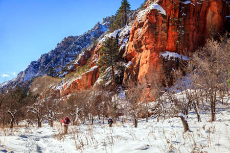 coconino national forest: Hikers on West Fork Trail in Oak Creek Canyon near Sedona, Arizona in winter