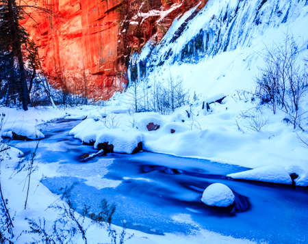 coconino national forest: Ice and snow over Oak Creek on West Fork Trail near Sedona, Arizona