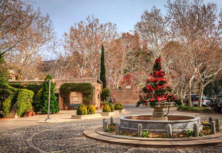 sedona: A square in Tlaquepaque Arts and Crafts Village in Sedona, Arizona