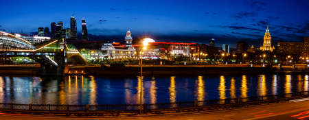 nighttime: Nighttime panoramic view to Kiev Railway Station and modern Moscow City in Moscow, Russia