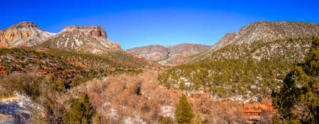 coconino national forest: Panoramic view of Oak Creek Canyon near Sedona, Arizona in winter