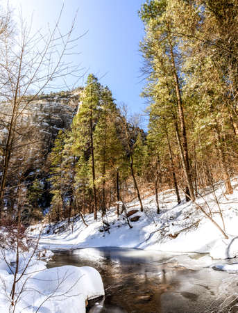 coconino national forest: Oak Creek on West Fork Trail near Sedona, Arizona after snow storm Stock Photo