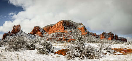 Panoramic view of Red Rocks formations in Sedona, Arizona after snow storm