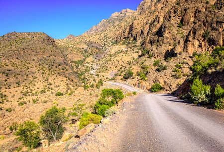 unpaved road: A dirt road through Al Hajar mountains in Oman