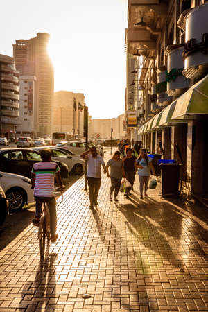 Dubai, June 14, 2016: Khalid Bin Al Waleed Street in Bur Dubai - center district of Dubai, UAE Editorial