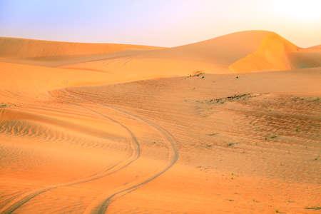 Tire tracks in a desert near Dunai, UAE Banco de Imagens