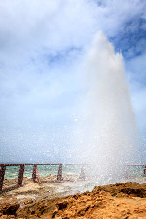 blow hole: Blow hole at Al Mughsayl beach near Salalah, Oman
