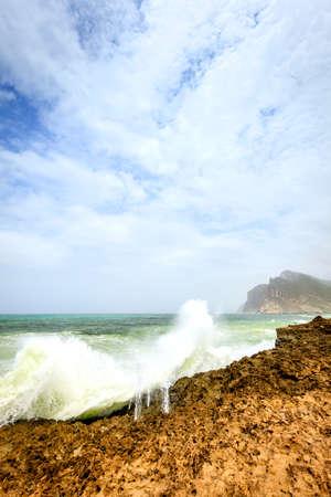 blowhole: Ocean surf near Al Mughsayl beach in Salalah, Oman during monsoon season Stock Photo