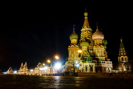 st  basil: Nighttime view of St. basil Cathedral on the Red Square in Moscow, Russia