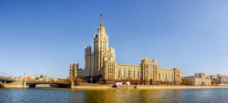 kotelnicheskaya embankment: Panoramic view of Kotelnicheskaya Embankment Building - a Moscow architectural landmark