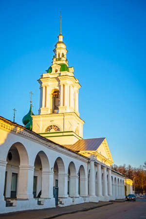 kostroma: Trading Arcades in the city of Kostroma, Russia at sunset Stock Photo