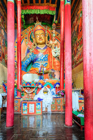 Interior of Buddhist temple in a monastery in Ladakh, Kashmir, India