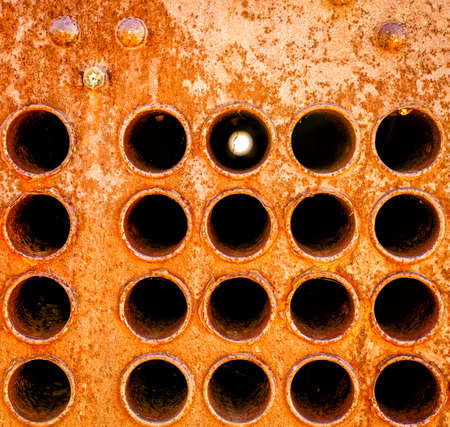 corrosion: Close-up image of an old heat exchanger pipes Stock Photo