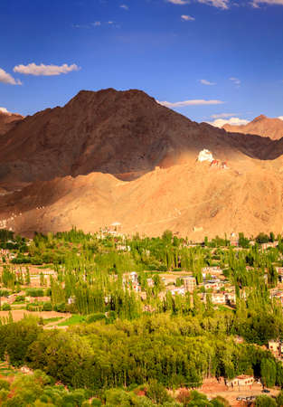 Birds eye view of city of Leh in Ladakh, Kashmir and surrounding mountains
