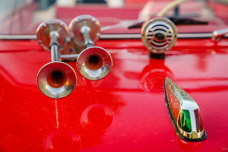 amphibious: Close-up image of horns and hood details of a classic amphibious car Stock Photo