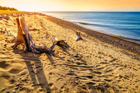 lake beach: Beach on Lake Superior in Whitefish Point, Michigan, Upper Peninsula